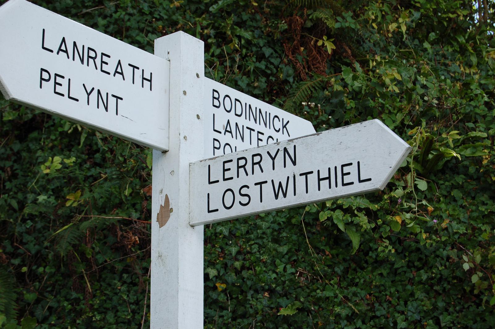 Lostwithiel signpost